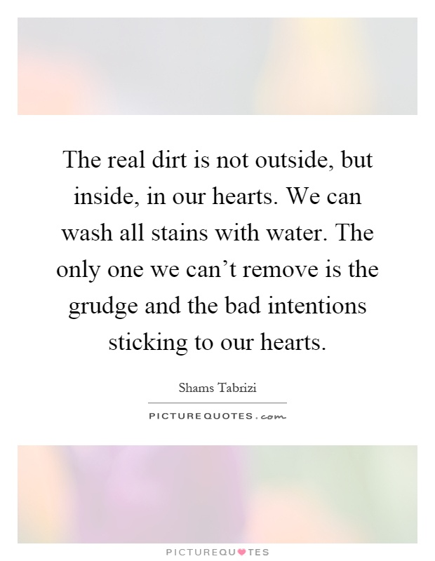 The real dirt is not outside, but inside, in our hearts. We can wash all stains with water. The only one we can't remove is the grudge and the bad intentions sticking to our hearts Picture Quote #1