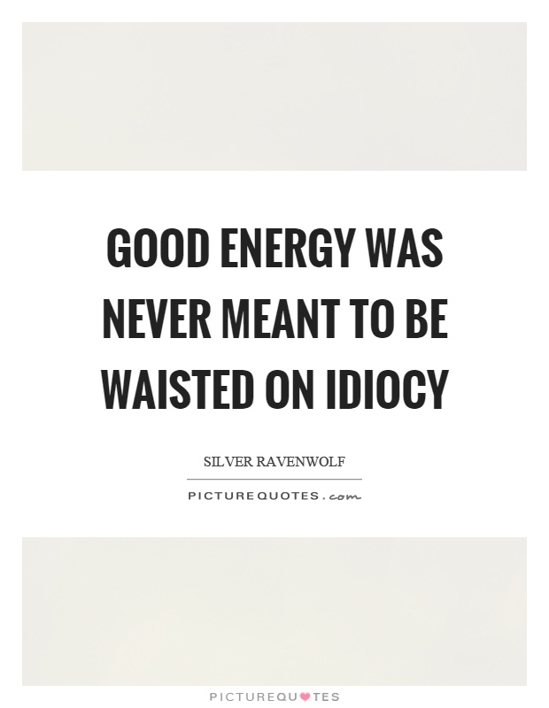 Good energy was never meant to be waisted on idiocy Picture Quote #1