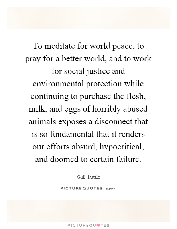 To meditate for world peace, to pray for a better world, and to work for social justice and environmental protection while continuing to purchase the flesh, milk, and eggs of horribly abused animals exposes a disconnect that is so fundamental that it renders our efforts absurd, hypocritical, and doomed to certain failure Picture Quote #1