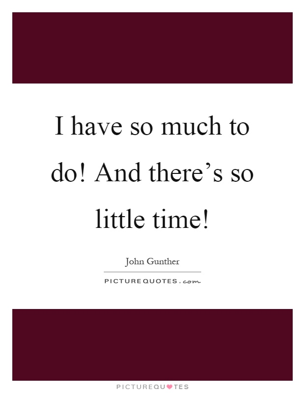 I have so much to do! And there's so little time! Picture Quote #1
