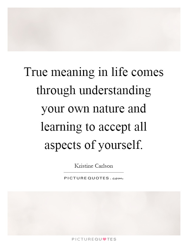 True meaning in life comes through understanding your own nature and learning to accept all aspects of yourself Picture Quote #1