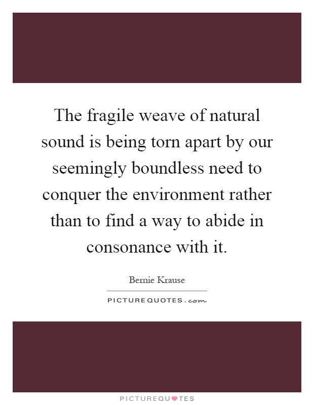 The fragile weave of natural sound is being torn apart by our seemingly boundless need to conquer the environment rather than to find a way to abide in consonance with it Picture Quote #1