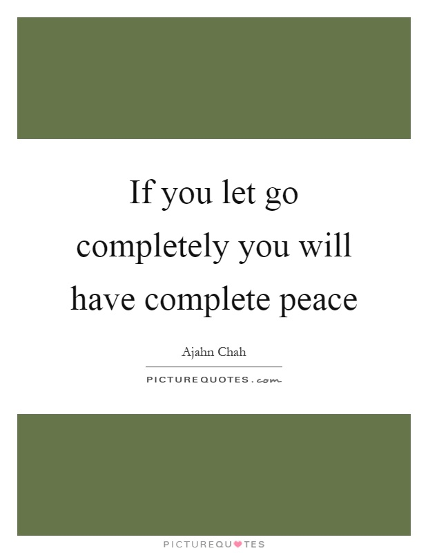 If you let go completely you will have complete peace Picture Quote #1