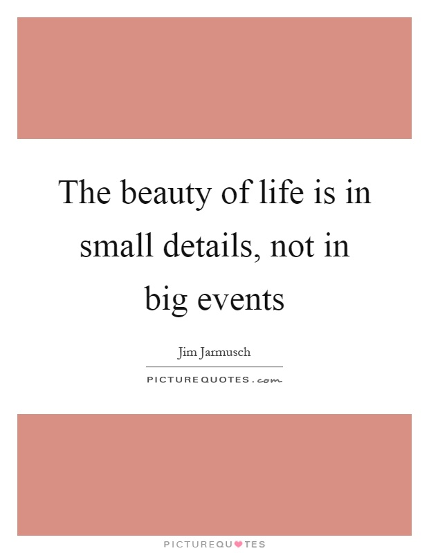 The beauty of life is in small details, not in big events Picture Quote #1