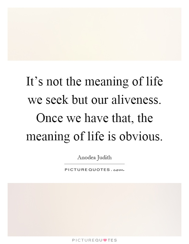 It's not the meaning of life we seek but our aliveness. Once we have that, the meaning of life is obvious Picture Quote #1