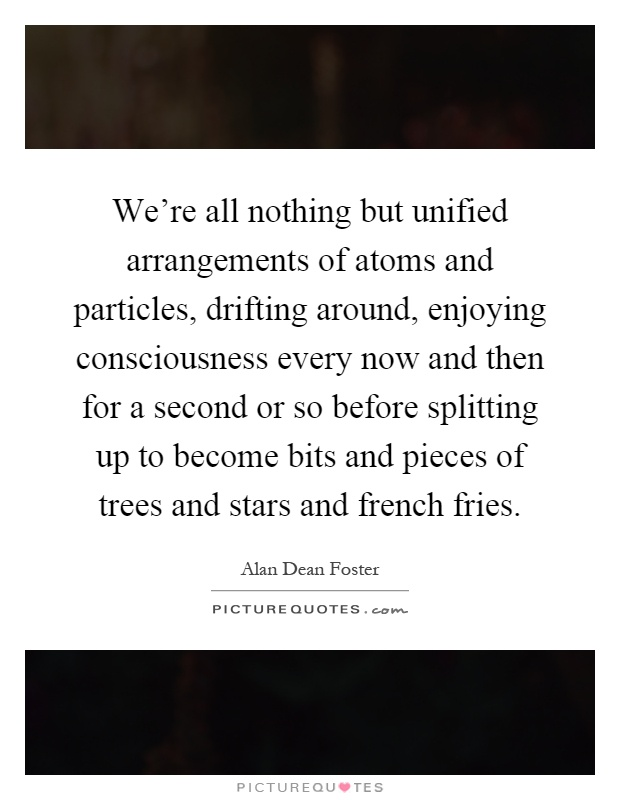 We're all nothing but unified arrangements of atoms and particles, drifting around, enjoying consciousness every now and then for a second or so before splitting up to become bits and pieces of trees and stars and french fries Picture Quote #1