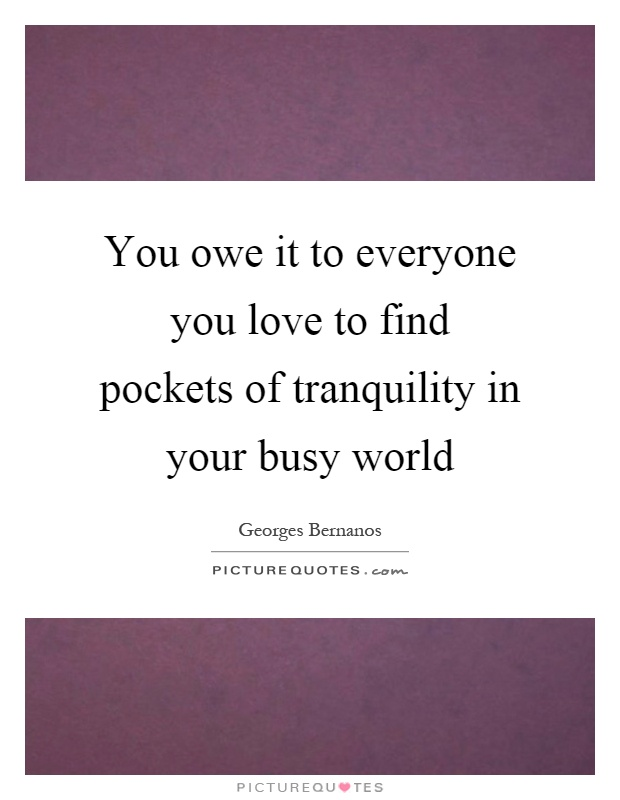 You owe it to everyone you love to find pockets of tranquility in your busy world Picture Quote #1