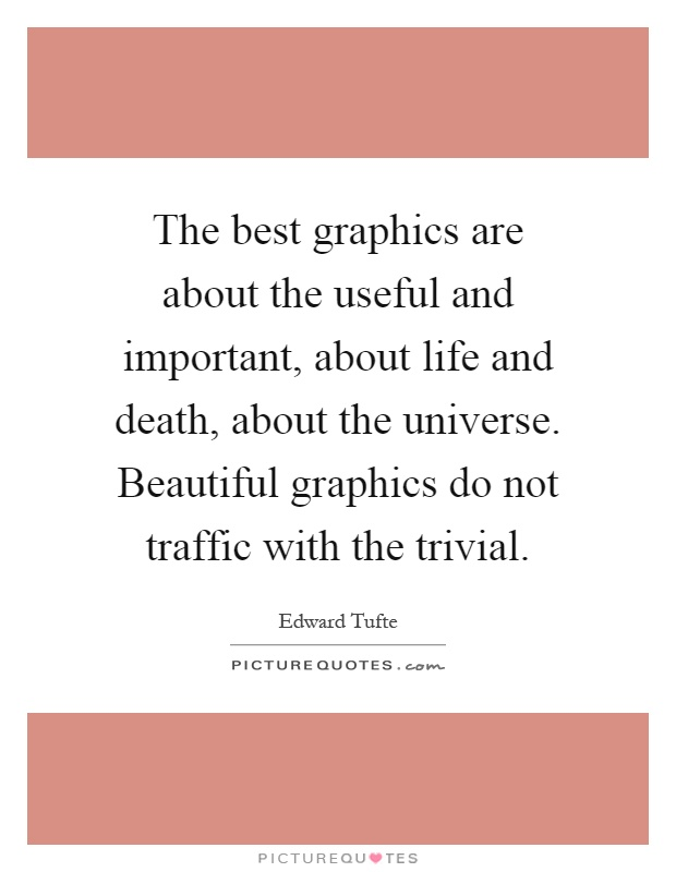 The best graphics are about the useful and important, about life and death, about the universe. Beautiful graphics do not traffic with the trivial Picture Quote #1