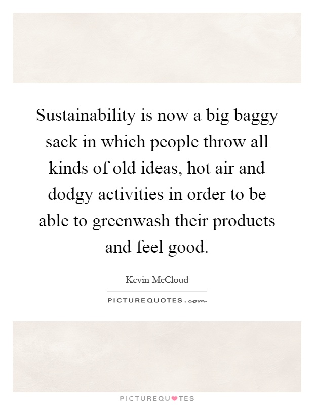 Sustainability is now a big baggy sack in which people throw all kinds of old ideas, hot air and dodgy activities in order to be able to greenwash their products and feel good Picture Quote #1