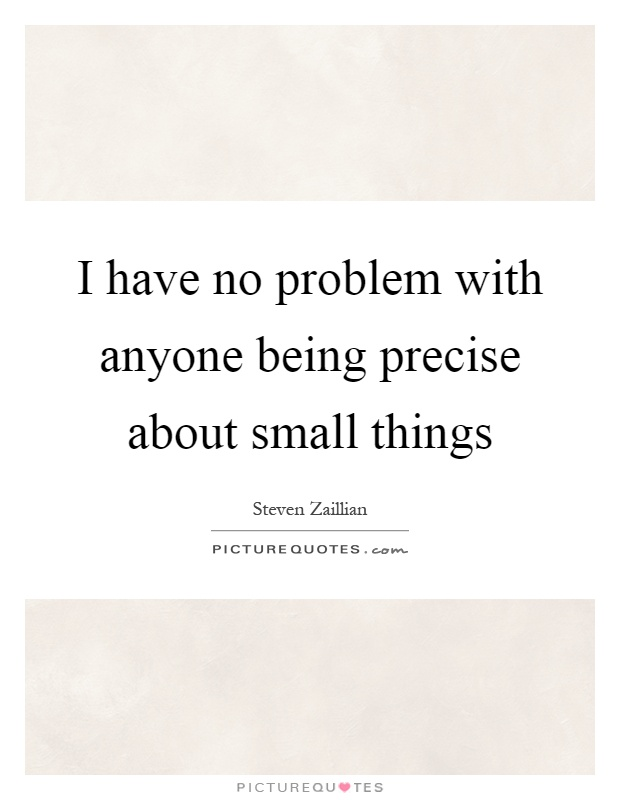 I have no problem with anyone being precise about small things Picture Quote #1