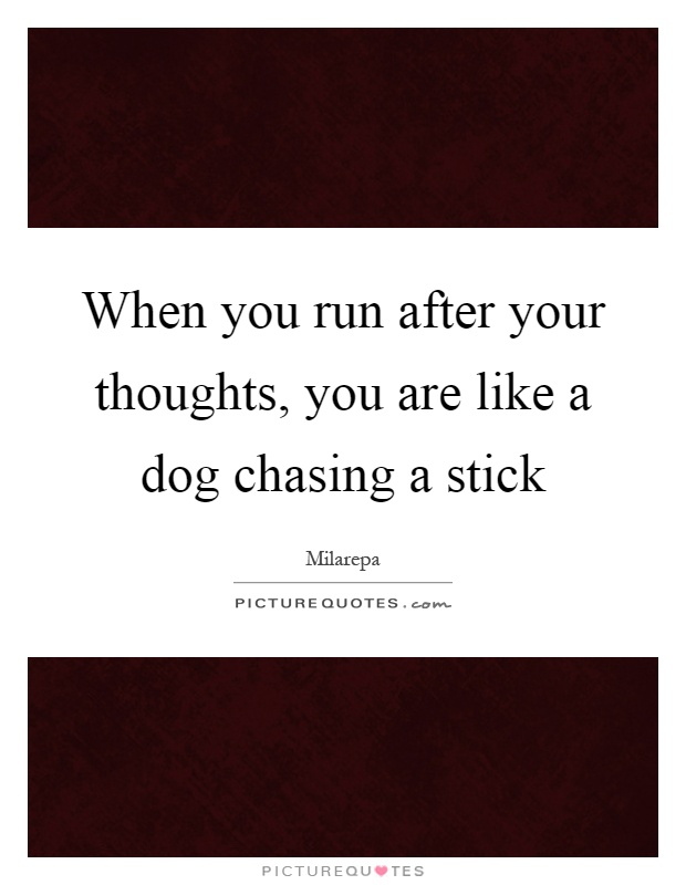 When you run after your thoughts, you are like a dog chasing a stick Picture Quote #1