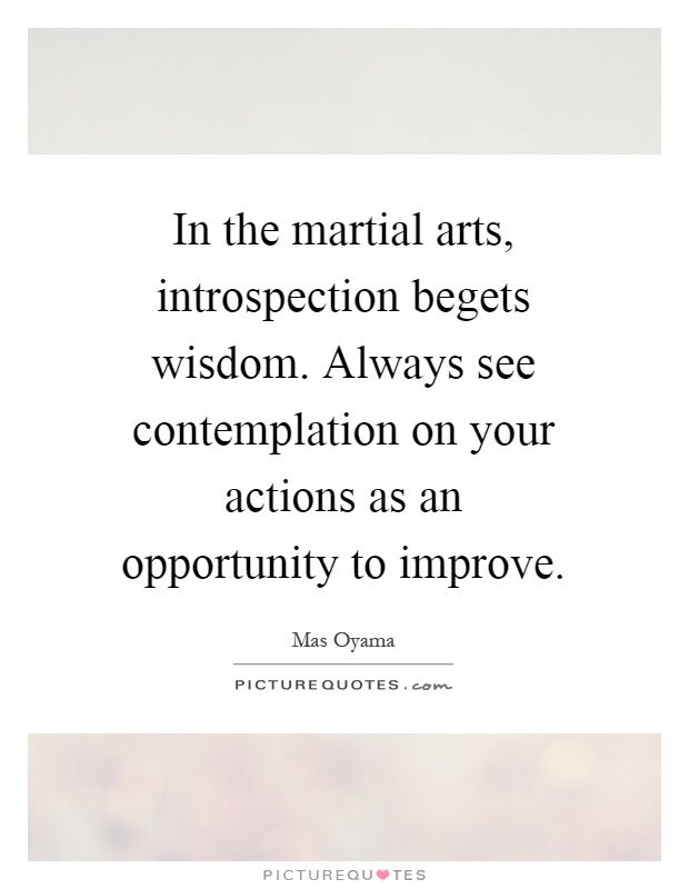 In the martial arts, introspection begets wisdom. Always see contemplation on your actions as an opportunity to improve Picture Quote #1