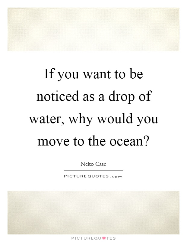 If you want to be noticed as a drop of water, why would you move to the ocean? Picture Quote #1