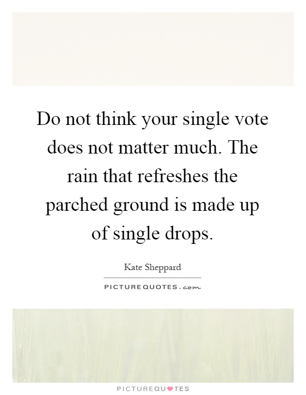 Do not think your single vote does not matter much. The rain that refreshes the parched ground is made up of single drops Picture Quote #1