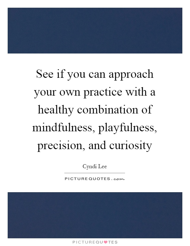 See if you can approach your own practice with a healthy combination of mindfulness, playfulness, precision, and curiosity Picture Quote #1