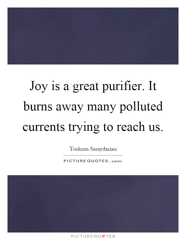 Joy is a great purifier. It burns away many polluted currents trying to reach us Picture Quote #1
