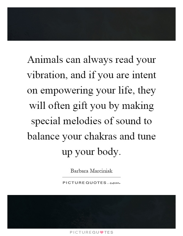 Animals can always read your vibration, and if you are intent on empowering your life, they will often gift you by making special melodies of sound to balance your chakras and tune up your body Picture Quote #1