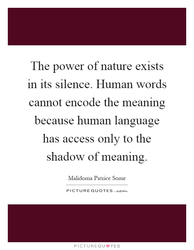 The power of nature exists in its silence. Human words cannot encode the meaning because human language has access only to the shadow of meaning Picture Quote #1