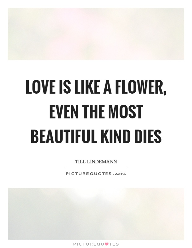 Love is like a flower, even the most beautiful kind dies Picture Quote #1
