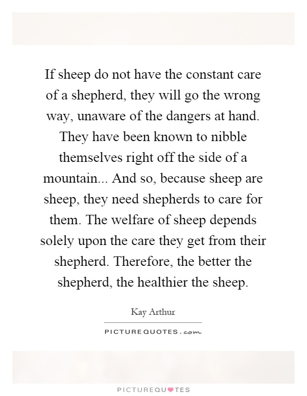 If sheep do not have the constant care of a shepherd, they will go the wrong way, unaware of the dangers at hand. They have been known to nibble themselves right off the side of a mountain... And so, because sheep are sheep, they need shepherds to care for them. The welfare of sheep depends solely upon the care they get from their shepherd. Therefore, the better the shepherd, the healthier the sheep Picture Quote #1