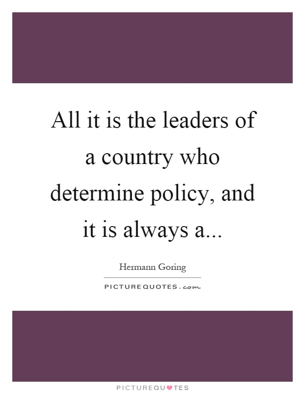 Leadership determines a country