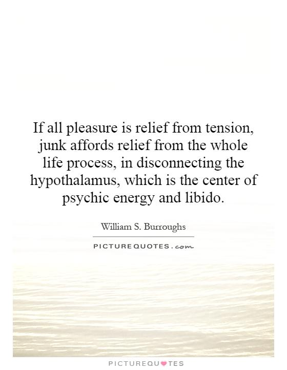 If all pleasure is relief from tension, junk affords relief from the whole life process, in disconnecting the hypothalamus, which is the center of psychic energy and libido Picture Quote #1