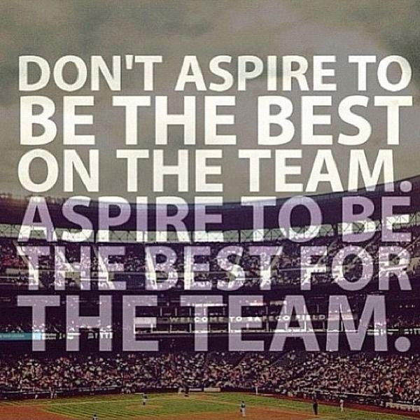 Don't aspire to be the best on the team. Aspire to be the best for the team Picture Quote #1