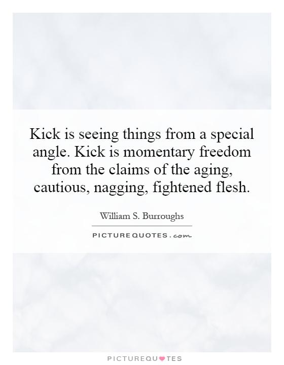 Kick is seeing things from a special angle. Kick is momentary freedom from the claims of the aging, cautious, nagging, fightened flesh Picture Quote #1