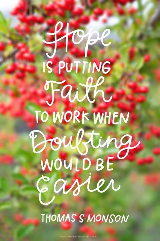 Hope is putting faith to work when doubting would be easier Picture Quote #1