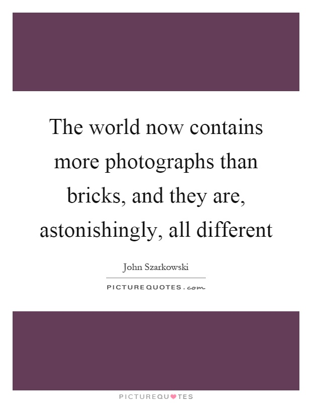 The world now contains more photographs than bricks, and they are, astonishingly, all different Picture Quote #1