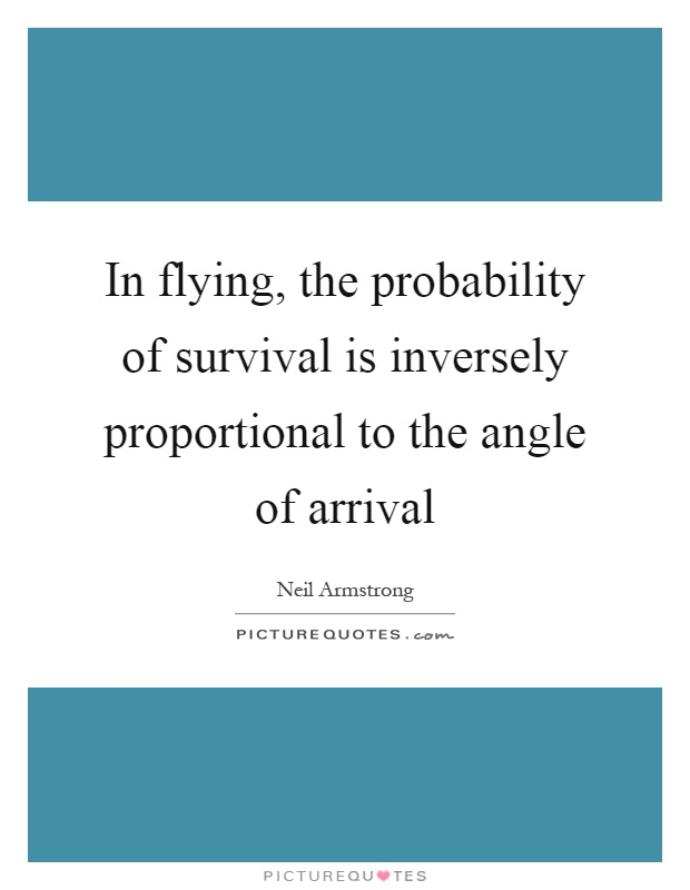 In flying, the probability of survival is inversely proportional to the angle of arrival Picture Quote #1