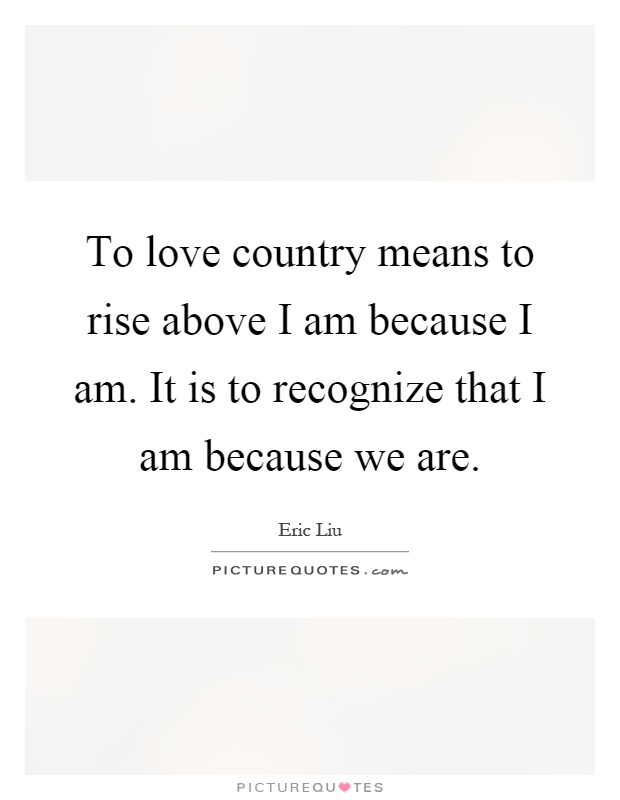 To love country means to rise above I am because I am. It is to recognize that I am because we are Picture Quote #1