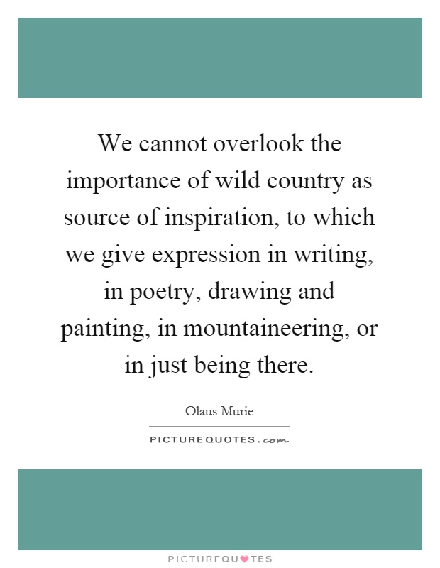 We cannot overlook the importance of wild country as source of inspiration, to which we give expression in writing, in poetry, drawing and painting, in mountaineering, or in just being there Picture Quote #1