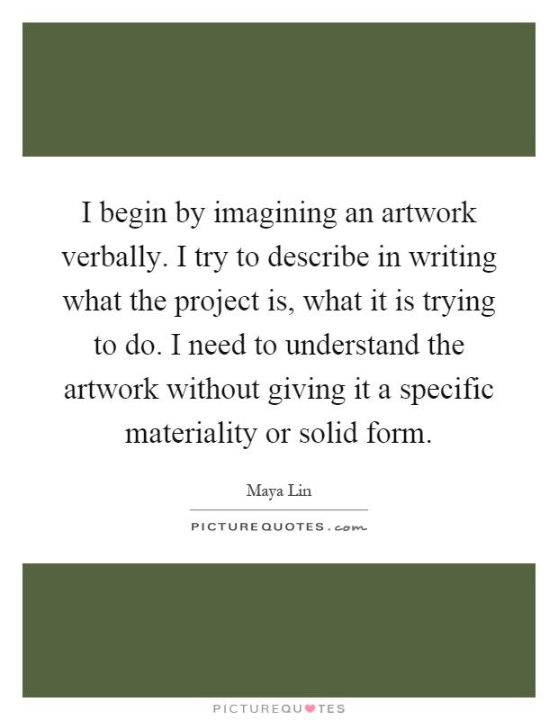 how to describe an art work