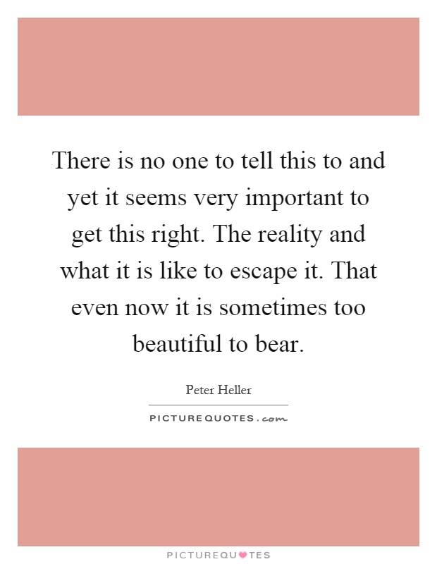 There is no one to tell this to and yet it seems very important to get this right. The reality and what it is like to escape it. That even now it is sometimes too beautiful to bear Picture Quote #1