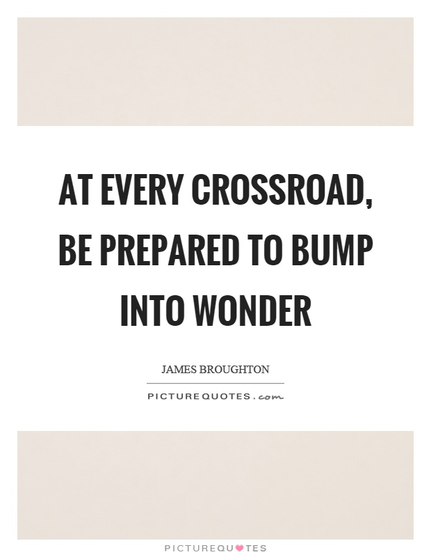 At every crossroad, be prepared to bump into wonder Picture Quote #1