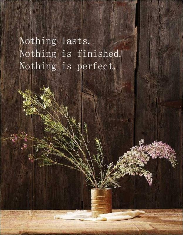 Nothing lasts. Nothing is finished. Nothing is perfect Picture Quote #1