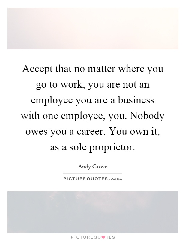 Accept that no matter where you go to work, you are not an employee you are a business with one employee, you. Nobody owes you a career. You own it, as a sole proprietor Picture Quote #1