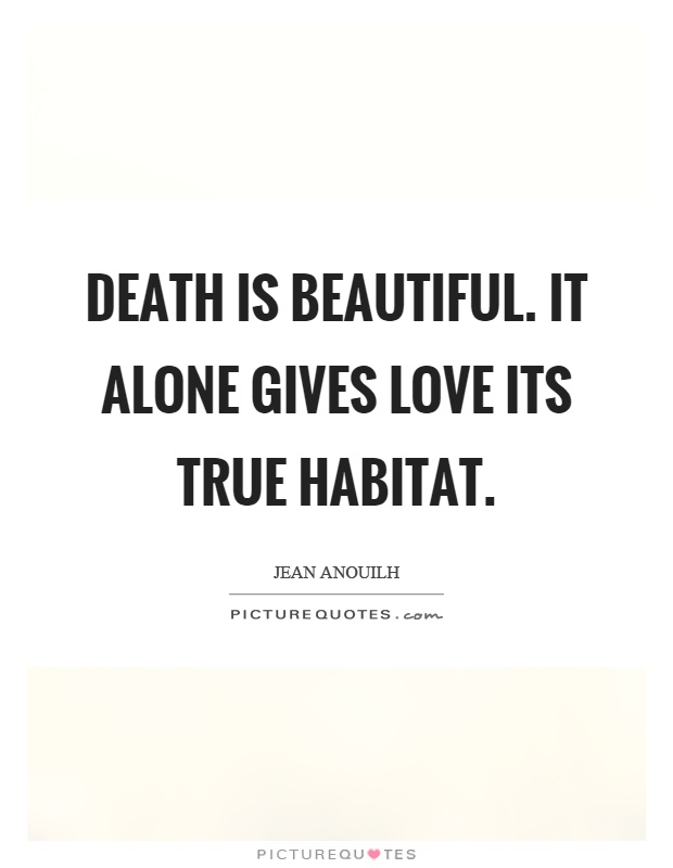 Death is beautiful. It alone gives love its true habitat Picture Quote #1