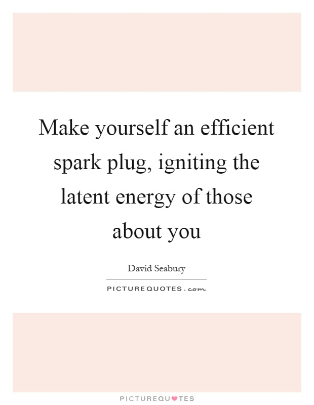 Make yourself an efficient spark plug, igniting the latent energy of those about you Picture Quote #1