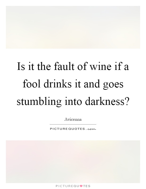 Is it the fault of wine if a fool drinks it and goes stumbling into darkness? Picture Quote #1