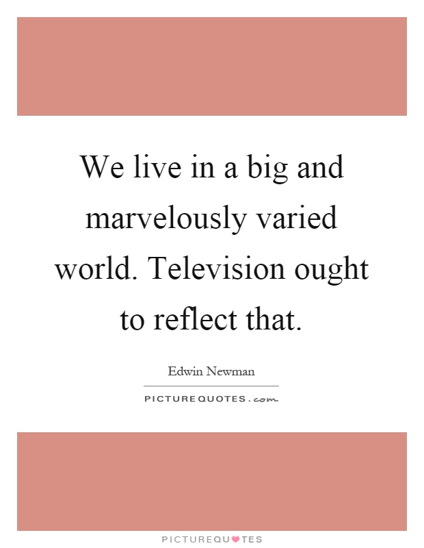 We live in a big and marvelously varied world. Television ought to reflect that Picture Quote #1