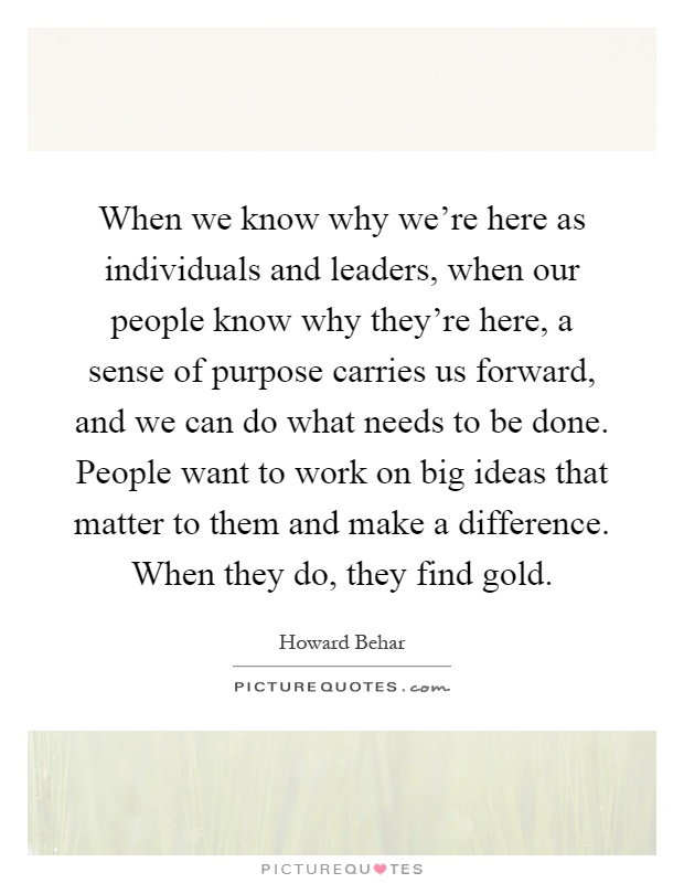 When we know why we're here as individuals and leaders, when our people know why they're here, a sense of purpose carries us forward, and we can do what needs to be done. People want to work on big ideas that matter to them and make a difference. When they do, they find gold Picture Quote #1