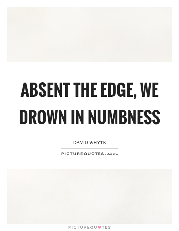 Absent the edge, we drown in numbness Picture Quote #1