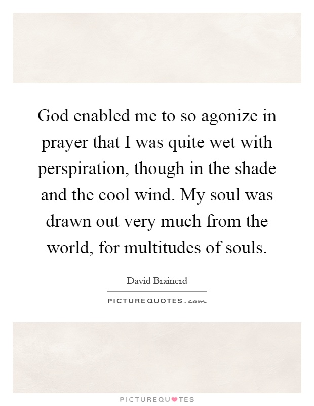 God enabled me to so agonize in prayer that I was quite wet with perspiration, though in the shade and the cool wind. My soul was drawn out very much from the world, for multitudes of souls Picture Quote #1