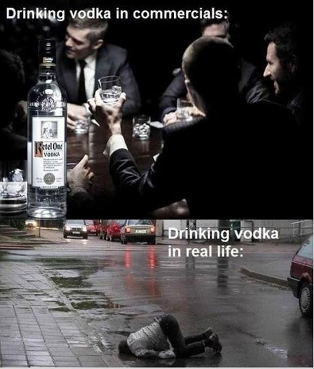 Drinking vodka in commercials. Drinking vodka in real life Picture Quote #1