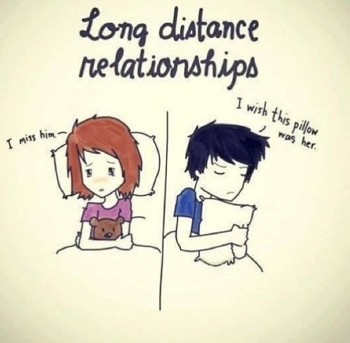 Long distance relationships. I miss him. I wish this pillow was her Picture Quote #1