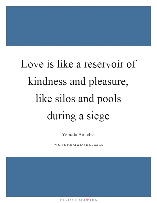 Love is like a reservoir of kindness and pleasure, like silos and pools during a siege Picture Quote #1
