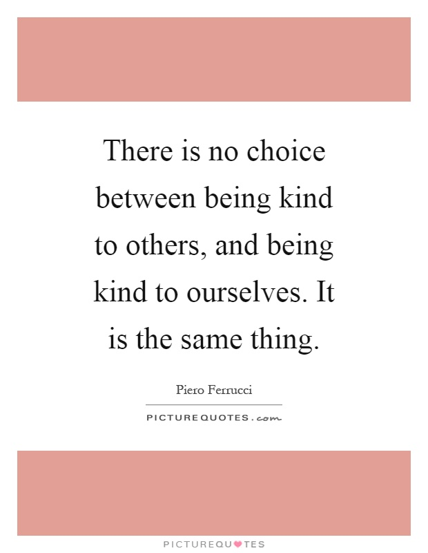 There is no choice between being kind to others, and being kind to ourselves. It is the same thing Picture Quote #1