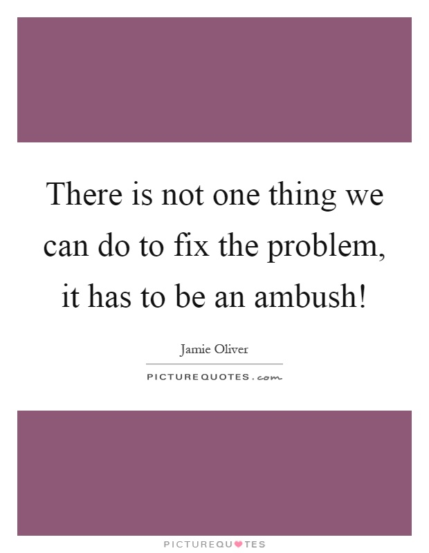 There is not one thing we can do to fix the problem, it has to be an ambush! Picture Quote #1